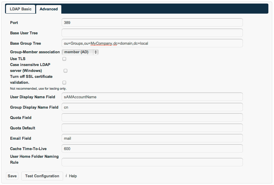 ownCloud LDAP Advanced Setup